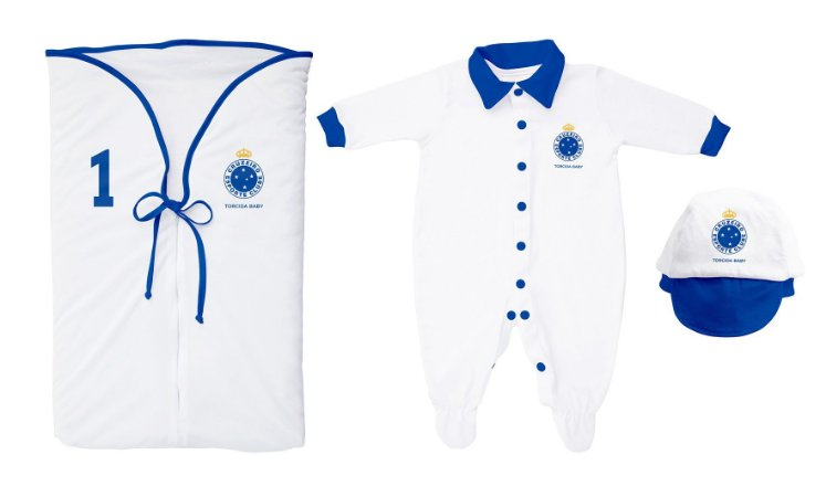 Kit Maternidade Cruzeiro Branco Menino - Torcida Baby