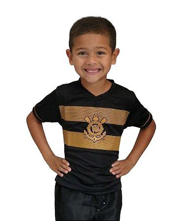 Camiseta Infantil Corinthians Estampa Dourada Oficial