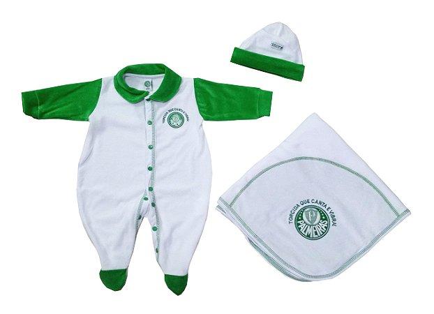 Kit Bebê Palmeiras Macacão Manta e Gorro Malha Oficial