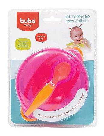 Kit Refeição Bebê com Colher Rosa 450ml - Buba