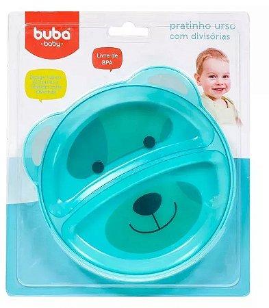 Pratinho Bebê Com Divisória Ursinho Azul - Buba