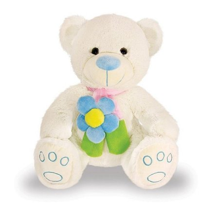 Urso Pimpão Com Flor Azul 41 cm Buba Toys