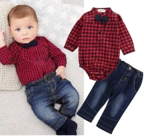 Conjunto Bebê Xadrez Vermelho Camisa e Calça Jeans