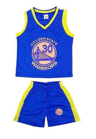 Conjunto Infantil Uniforme Warriors Azul