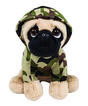 Pelúcia Cachorro Pug Militar 22cm Buba