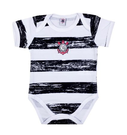 Body Bebê Corinthians Listras Manga Curta Oficial