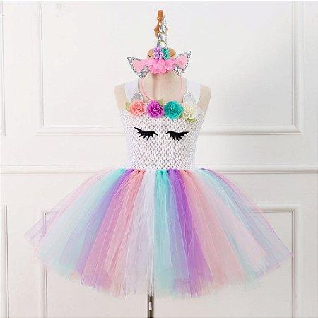 Vestido Infantil Unicórnio Tule Festa Aniversário