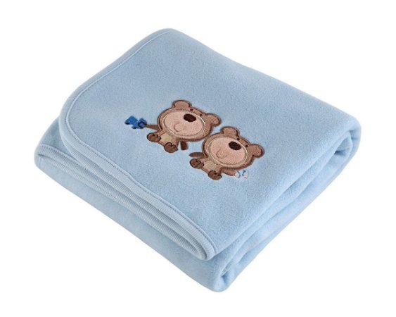 Manta Bebê Fleece Bordada Azul Lepper