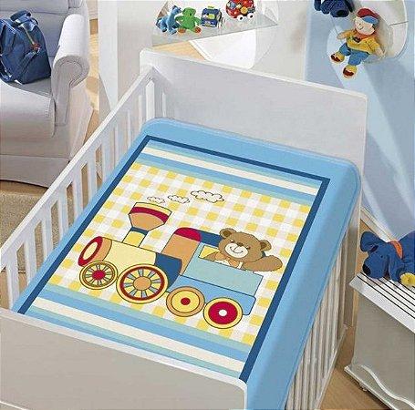 Cobertor Bebê Trenzinho Piui 0,90 x 1,10m Jolitex