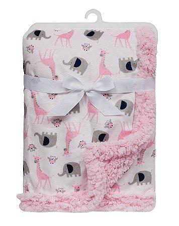 Manta Bebê em Soft Elefantinhos Rosa Buba
