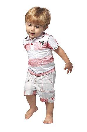 Conjunto Bebê Infantil São Paulo Polo e Bermuda Oficial