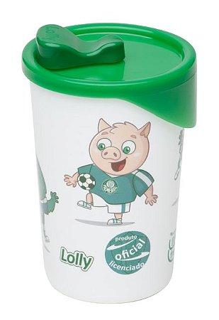 Copo Palmeiras Plástico Com Tampa Lolly 350ml