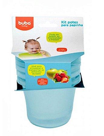 Kit 3 Potinhos Para Papinha Bebê Azul Buba