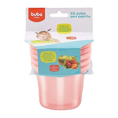 Kit 3 Potinhos Para Papinha Bebê Rosa Buba