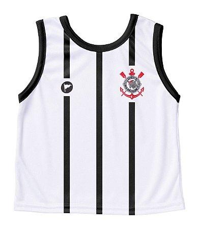 Camiseta Corinthians Bebê Regata Branca - Torcida Baby
