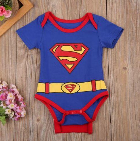 Body Bebê Super Man Manga Curta Com Capa