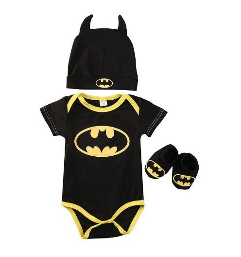 Kit Bebê Batman 3 Peças Manga Curta