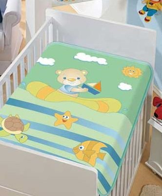 Cobertor Bebê Verde Barquinho 0,90 x 1,10m Jolitex