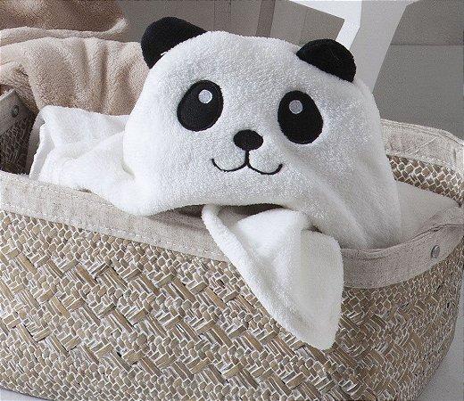 Manta Com Capuz Baby Panda Jolitex