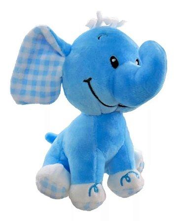Elefante de Pelúcia com Chocalho Azul Unik Toys