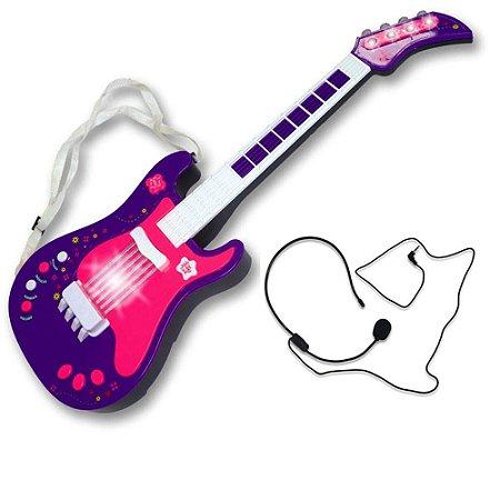 Guitarra Eletrônica Infantil Lilás Unik Toys