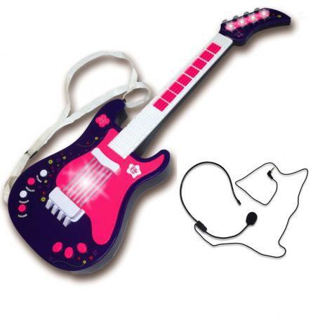 Guitarra Eletrônica Infantil Rosa Unik Toys
