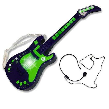 Guitarra Eletrônica Infantil Verde Unik Toys