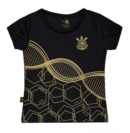 Camiseta Infantil Corinthians DNA Preta Baby Look Oficial