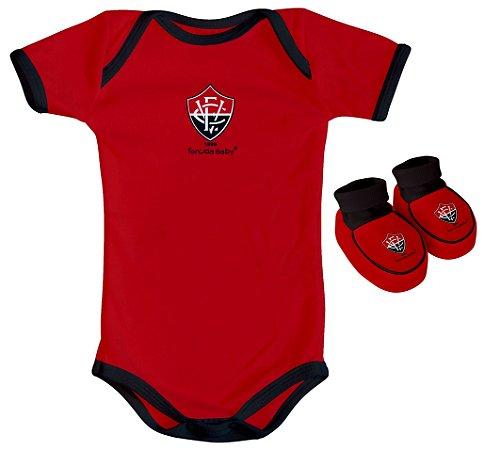 Kit Bebê Vitoria 2 Peças Vermelho Torcida Baby