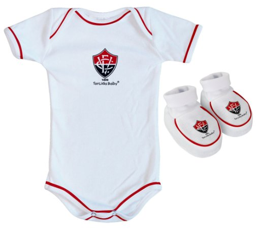 Kit Bebê Vitoria 2 Peças Branco Torcida Baby