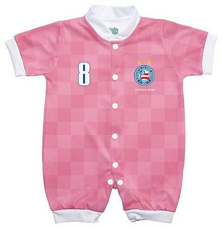 Macacão Bebê Bahia Curto Rosa - Torcida Baby