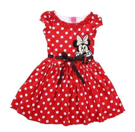 Vestido Infantil Minnie Bolinhas Cinto - Vermelho