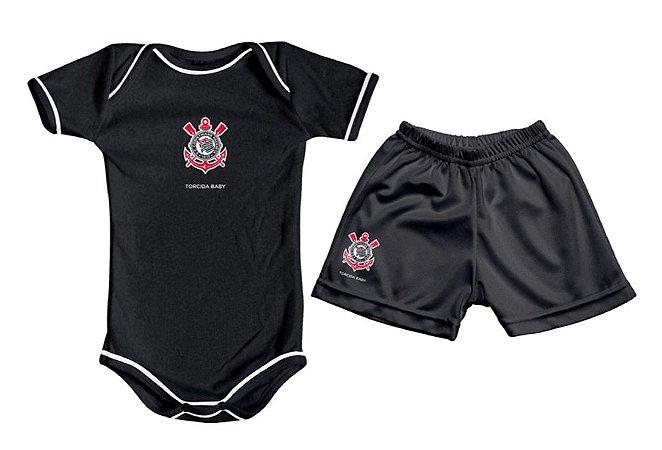 Kit Bebê Corinthians com Body e Shorts Preto Torcida Baby