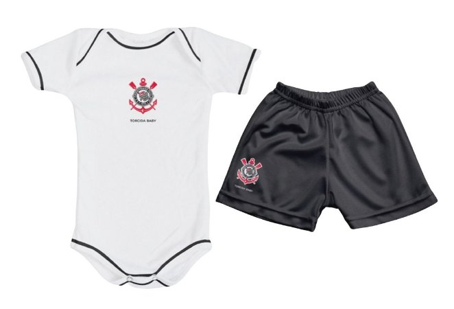 Kit Bebê Corinthians com Body e Shorts Torcida Baby