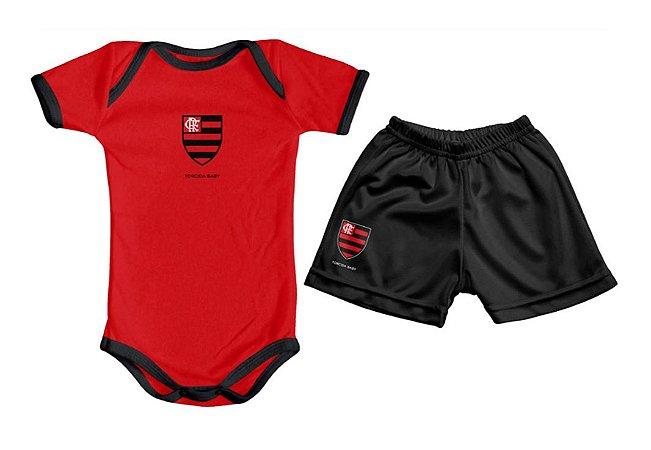 Kit Bebê Flamengo com Body e Shorts Vermelho Torcida Baby