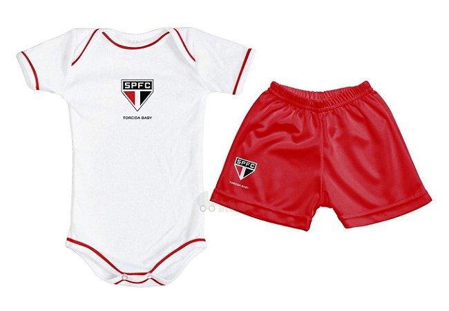 Kit Bebê São Paulo com Body e Shorts Torcida Baby