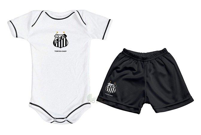 Kit Bebê Santos com Body e Shorts Torcida Baby