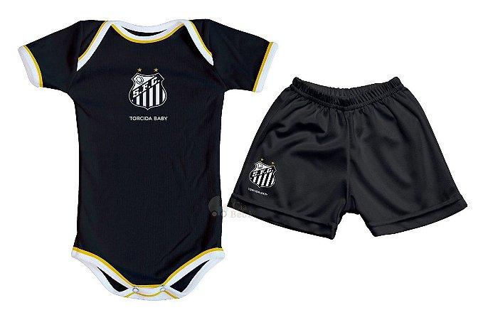 Kit Bebê Santos com Body e Shorts Preto Torcida Baby