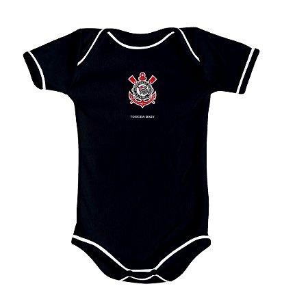 Body Bebê Corinthians Preto Curto Oficial - Torcida Baby