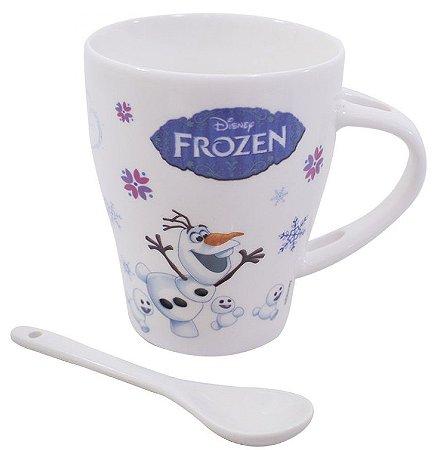 Caneca De Porcelana Com Colher Frozen 310 ml