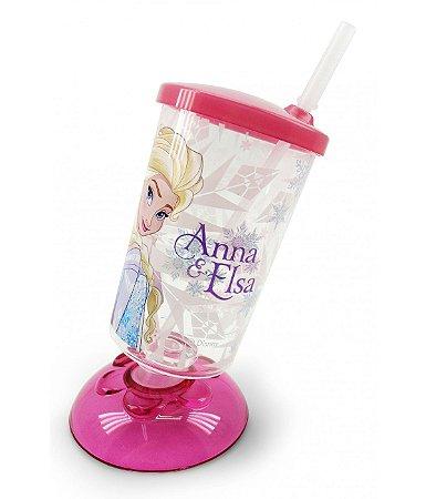 Copo Com Canudo Articulado Rosa Frozen 250ml - Disney