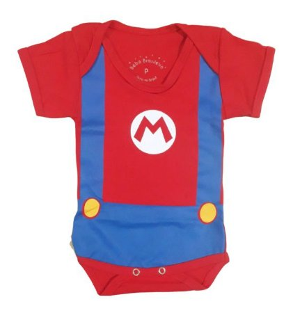 Body Bebê Super Mario Bros Manga Curta