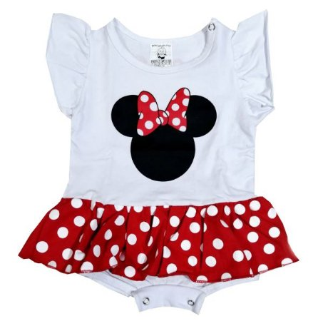 Body Vestido Bebê Minnie Manga Curta