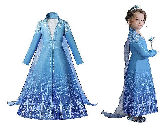 Vestido Fantasia Infantil Elsa Frozen 2 Azul