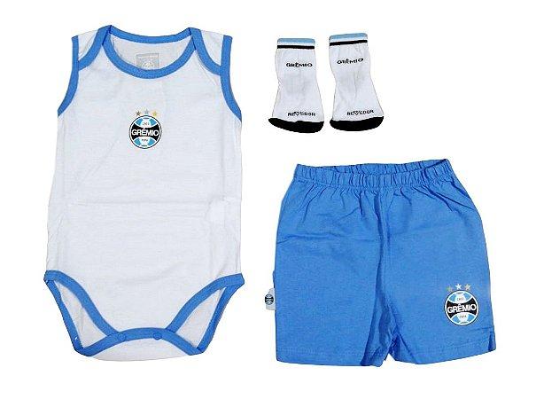 Kit infantil Grêmio Com Body Shorts e Meia Oficial