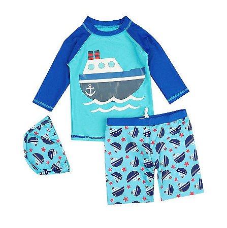 Kit Com Camisa Shorts e Gorro Praia Proteção Sol
