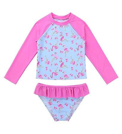 Conjunto Praia Feminino Flamingo Rosa 2 Pçs