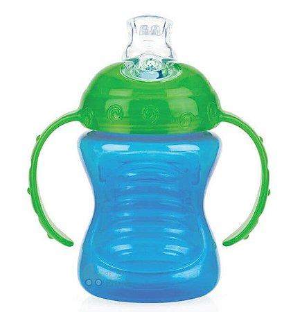 Copo Bebê Com Alça De Silicone Azul 240ml Nuby