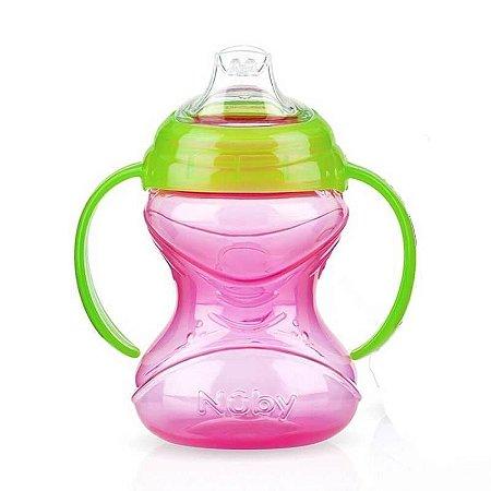 Copo Bebê Com Alça De Silicone Rosa 240ml Nuby