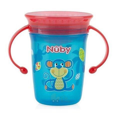 Copo Bebê Com Alça 360º Azul e Vermelho 240ml Nuby